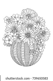 Vase with sunflowers. Hand drawn picture. Sketch for anti-stress adult coloring book in zen-tangle style. Vector illustration  for coloring page, isolated on white background.
