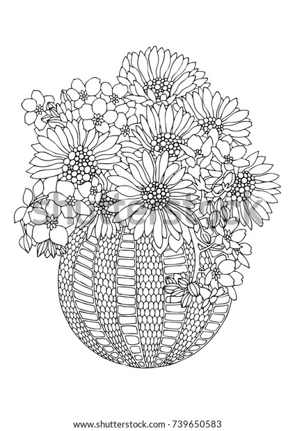 Vase Sunflowers Hand Drawn Picture Sketch Stock Vector Royalty