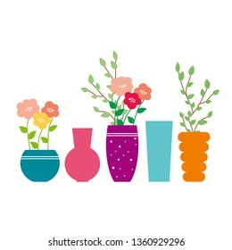 Vases different shapes. Illustration of vase with flowers. Banch with green leaves. Ceramic vase. Glass vase. Decoe for house. Vase of flowers. Flowerpot. Mother's Day.