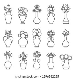 Vases with flowers icons. Vector linear floral bouquet in vase set