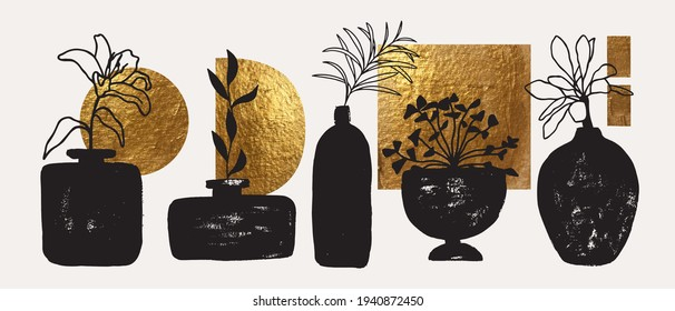 Vases, pots with plants. Golden abstract shapes, decorative elements. Modern contemporary art set. Wall art design. Cover, poster, logo, branding concept. Hand drawn grunge texture.