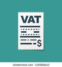 Vat concept. Added value. Tax check isolated on background. Vector illustration flat design.