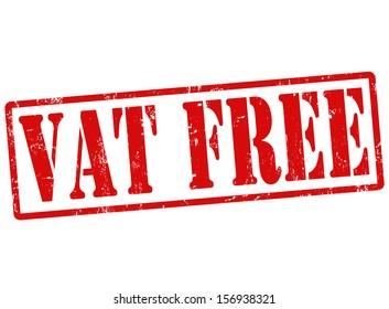VAT free grunge rubber stamp on white, vector illustration