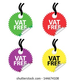VAT FREE labels and stickers set. Vector