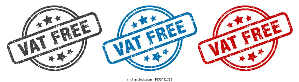 vat free round grunge vintage sign. vat free stamp
