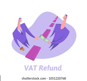VAT return concept. A person is refunded VAT for purchases at the state border. Flat vector illustration, isolated on white background.