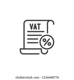 VAT taxes outline icon. linear style sign for mobile concept and web design. Value Added Tax simple line vector icon. Symbol, logo illustration. Pixel perfect vector graphics