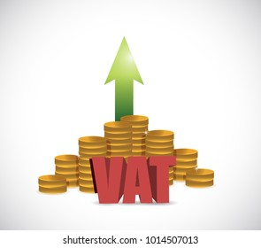 VAT (Value Added Tax) on stacks of gold coins on a white background. illustration design graphic