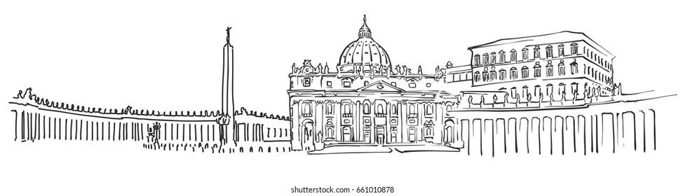 Vatican City Panorama Sketch, Monochrome Urban Cityscape Vector Artprint