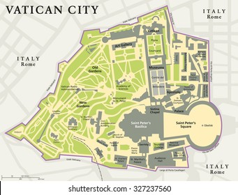 Vatican city political map. City state in Rome, Italy with national borders, important buildings, sights and gardens. English labeling and scaling. Illustration.