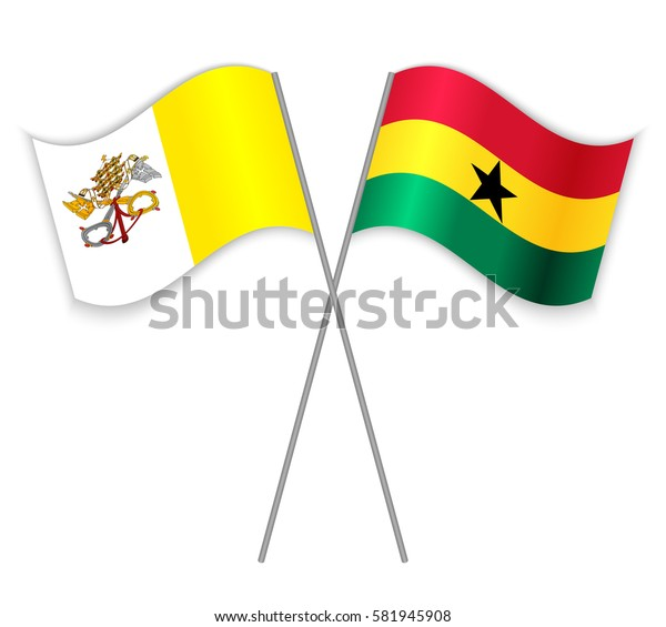 Vatican and Ghanaian crossed flags. Vatican City State combined with Ghana isolated on white. Language learning, international business or travel concept.