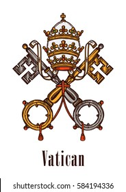 Vatican heraldic keys state official symbol on flag and coat of arms. Vector heraldry emblem of vintage keys and ribbons, imperial or royal crown of monarchy government with catholic cross
