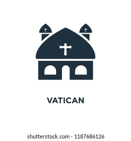Vatican icon. Black filled vector illustration. Vatican symbol on white background. Can be used in web and mobile.