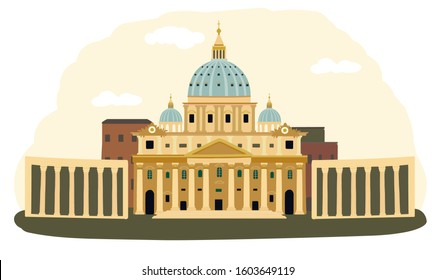 The Vatican, Rome, Italy. Travel vector illustration. Landmark.