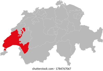 Vaud canton isolated on Switzerland map. Gray background. Backgrounds and Wallpapers.
