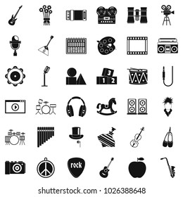 Vaudeville icons set. Simple set of 36 vaudeville vector icons for web isolated on white background