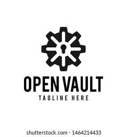 Vault with Gear logo hipster vintage retro door vector illustration