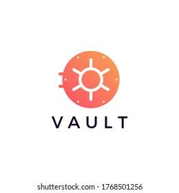vault locker logo vector icon illustration