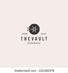 vault logo hipster vintage retro door vector icon illustration