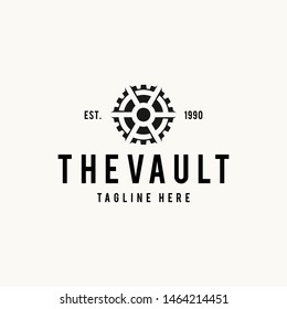 Vault logo hipster vintage retro door vector illustration
