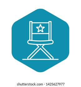 Vblog director chair icon. Outline vblog director chair vector icon for web design isolated on white background