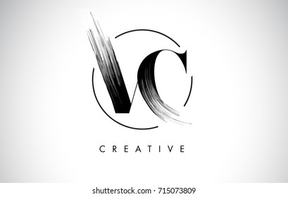 VC Brush Stroke Letter Logo Design. Black Paint Logo Leters Icon with Elegant Circle Vector Design.