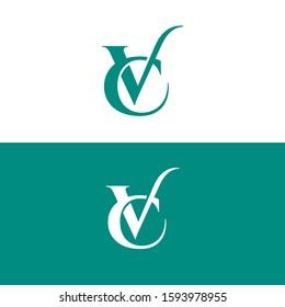 VC, CV Letter Initial Logo Design Template