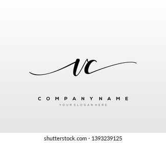 VC handwriting initial  logo vector