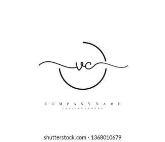 VC initial handwriting logo template vector