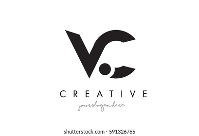 VC Letter Logo Design with Creative Modern Trendy Typography and Black Colors.