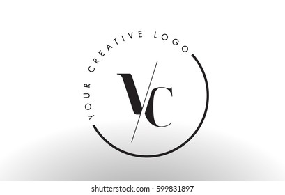 VC Letter Logo Design with Creative Intersected and Cutted Serif Font.