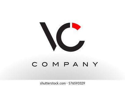 VC Logo.  Letter Design Vector with Red and Black Colors.