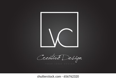 VC Square Framed Letter Logo Design Vector with Black and White Colors.