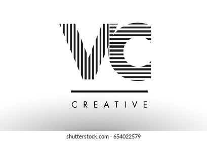 VC V C Black and White Letter Logo Design with Vertical and Horizontal Lines.