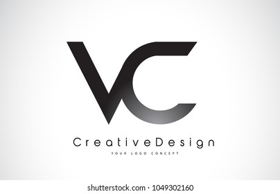 VC V C Letter Logo Design in Black Colors. Creative Modern Letters Vector Icon Logo Illustration.