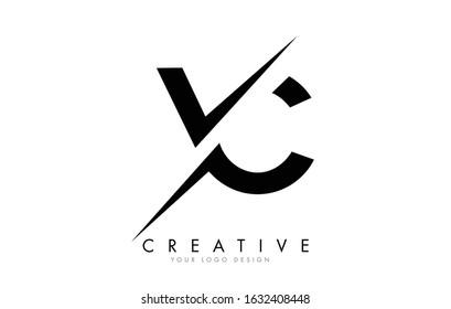 VC V C Letter Logo Design with a Creative Cut. Creative logo design..