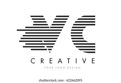 VC V C Zebra Letter Logo Design with Black and White Stripes Vector