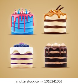 Vctor illustration of four delicious different cakes with blueberry, meringue, caramel and marshmallow