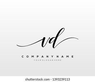 VD handwriting initial  logo vector