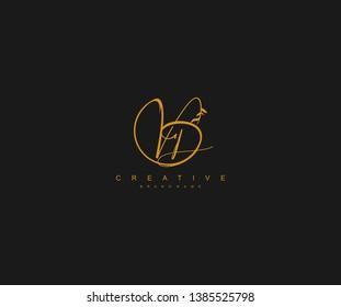 VD letter linked calligraphic monogram emblem style vector logo