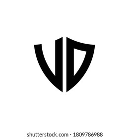 VD monogram logo with shield shape design template isolated on white background