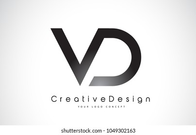 VD V D Letter Logo Design in Black Colors. Creative Modern Letters Vector Icon Logo Illustration.