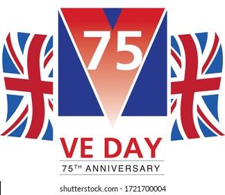 VE Day Victory in Europe Logo symbol design