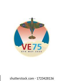 VE Day WW2 Anniversary 75th Logo Spitfire Design Vector