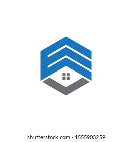 VE , EV Monogram Style Vector Eps Logo Design With Blue And Gray