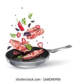 Veal steaks with red chili, parsley and basil. Fried spicy meat dish with spices in a pan. Vector flying composition isolated on white background.