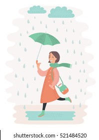 Vecetor illustration of cute vector girl walking in the rain with umbrella Cloud and puddle