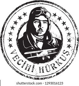 Vecihi Hurkus portrait stamp in line art illustration. He (1896-1969) was a Turkish aviation engineer and aviation pioneer who designed and produced the first domestic airplane.