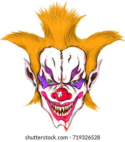 The vecnor evil clown of halloween. for T-shirt design or outwear.