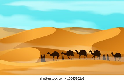 Vecor camel caravan in the desert.